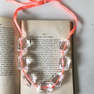Statement neon pink chunky crystal rock  necklace